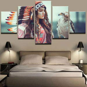 HD Printed Decoration Painting Picture 5 Panel Feather Girl Frame Decor Indians Canvas Print