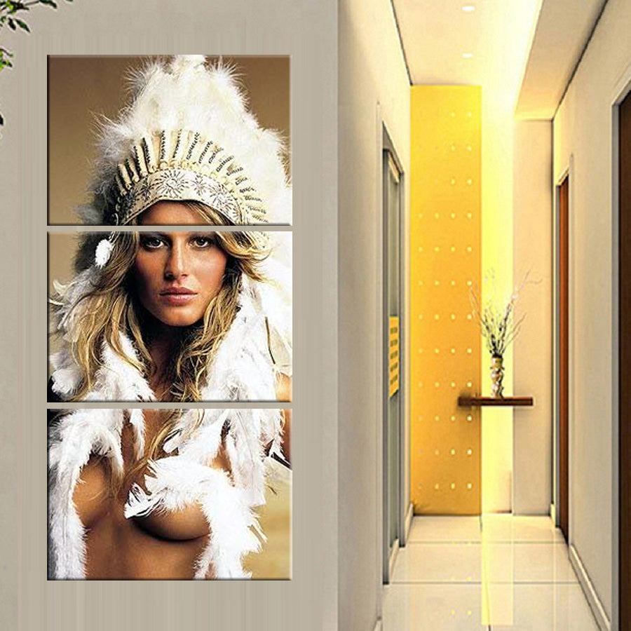 HD Printed 3 Canvas Art American Indian Feathered Painting Wall Pictures Hanging Corridor