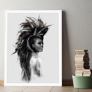 Indians Women Feather Art Canvas Poster Painting Black White Abstract Minimalist Picture No Frame