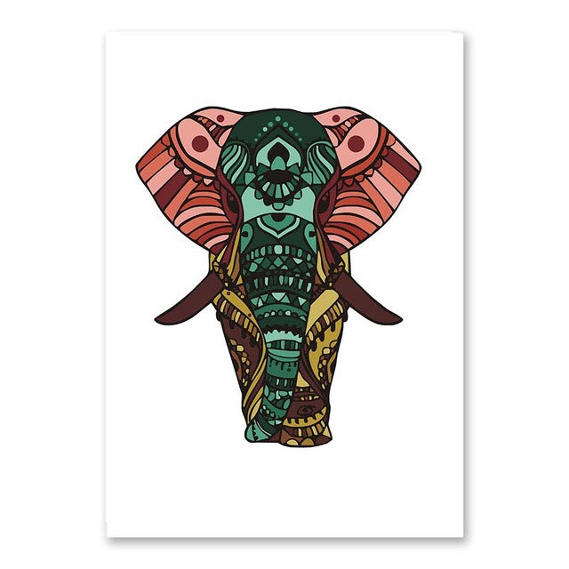 Cartoon Animal Indian Elephant Canvas Art Print Painting Poster A4 Art Wall Picture