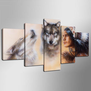 Canvas Painting Home Decoration 5 Panel Wolf And Indians Wall Art Pictures Painting Prints