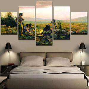 Modular Canvas Wall Art Picture 5 Panel Native American Indians Canvas Painting Decorative Poster