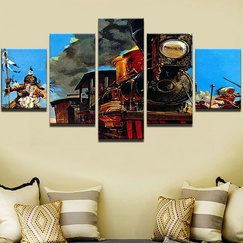 HD Print Canvas Modular Pictures Frame Wall Art 5 Panel Indians Painting Popular