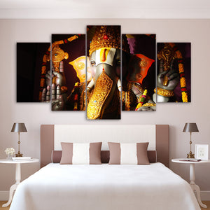 Modular Pictures Decor Ganesha Poster Frame 5 Piece Elephant India Religion Lord Canvas Painting