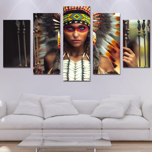 Canvas Art HD Printed Painting Modular Girl Pictures Frame 5 Panels Indian Figure Women Poster Wall Art