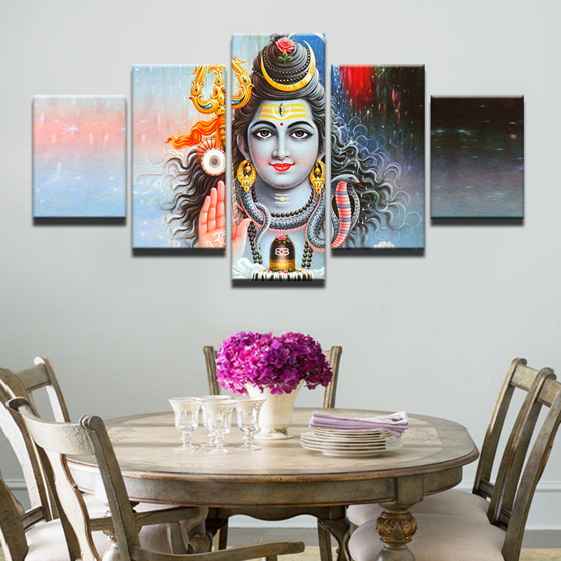 Hd Print Canvas Painting Picture Stick On The Wall 5 Panel The God Of India Shiva Modular