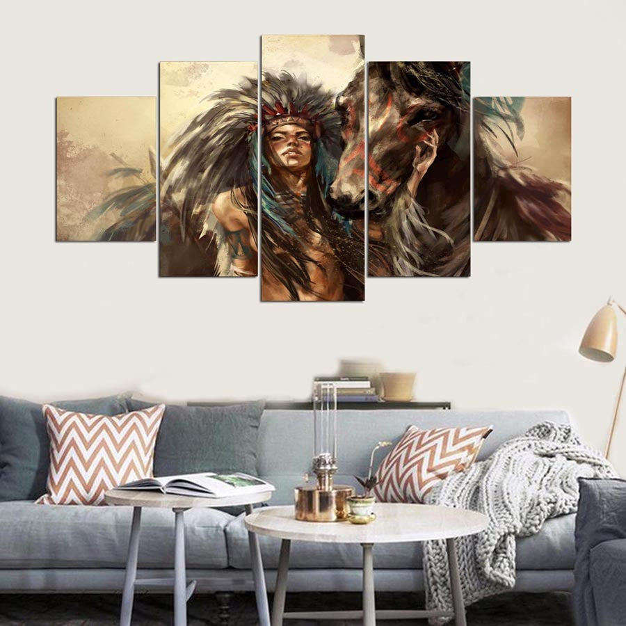 Painting Art Wall Modular Picture 5 Panel Indians And Horse Home Decoration Canvas Prints