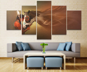 Painting Home Decor Modular 5 Panel Indians Girl And Horse Canvas Art Printed On Canvas