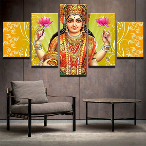 Canvas Painting Wall Poster 5 Panel Indian God Shiva Frames In Modular Print Pictures