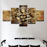 Abstract Painting Wall Pictures 5 Panel India Ganesha HD Poster Elephant Trunk God Canvas Painting
