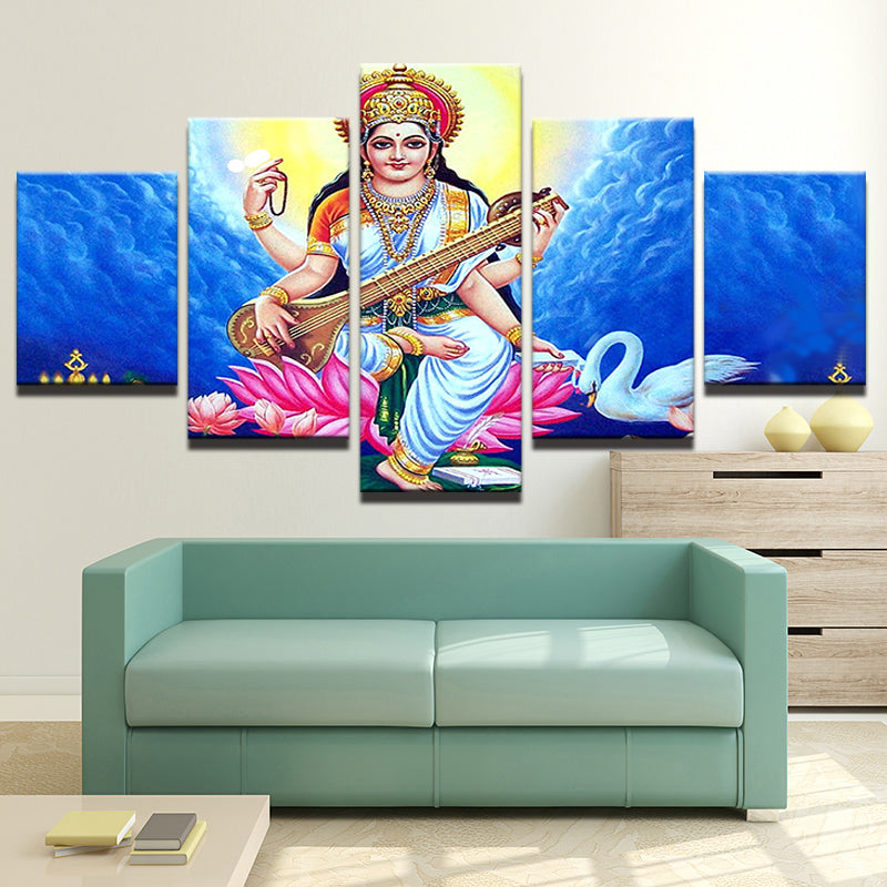 Print Painting Home Decor 5 Panel Indian God Shiva Modular Pictures Poster Frame
