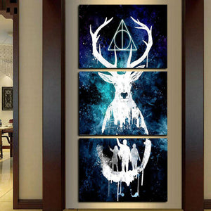 Decor Painting 3 Piece Modular Indians Girl White Fox Sir Deer Wall Stretched Framed Ready