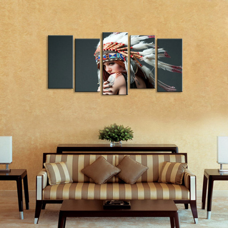Oil Painting The Indians Hd Canvas Painting Photo Prints Wall Pictures