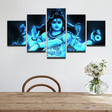 Paintings Canvas 5 Panel India Tibetan God Shiva Painting Home Decoration Art Print Pictures