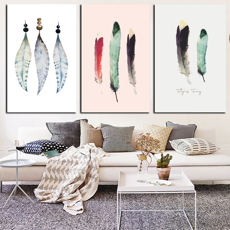 HD Print Abstract Watercolor Indian American Feather Canvas Painting Poster Art Wall Picture
