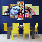 Canvas Painting Wall Decorative Frame 5 Panel India Myth Krishna Paintings Modular Pictures Wall Art