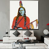 Sitting Bull And Indian By Andy Warhol Art Prints On Canvas Living Room Home Decoration