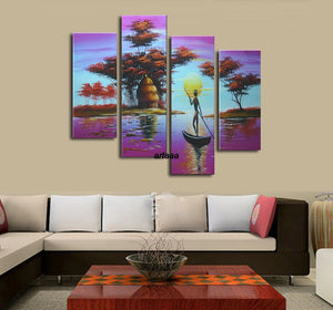 4 Screen Pop Canvas Decorative Portfolio Abstract Art Classical Oil Paintings 4pcs