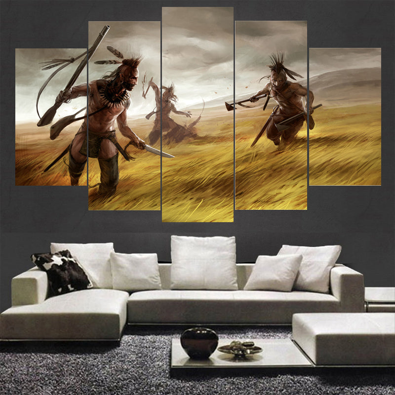 Painting Wall Art Home Decor HD Printed 5 Panel Indians Landscape Canvas Wall Framed