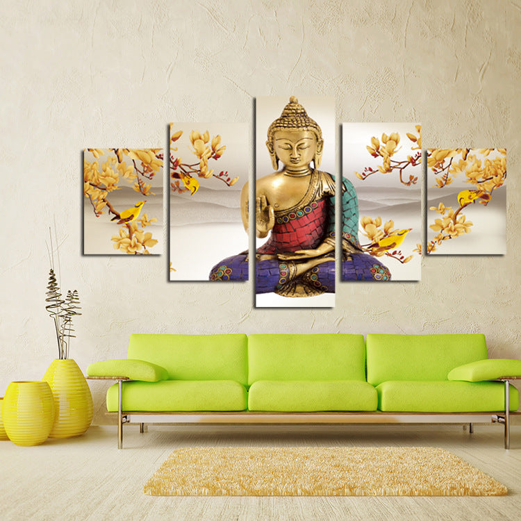 5 Panel Hanging Painting Buddha Art Canvas Wall Art Buddha Picture