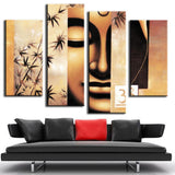 4 Pieces Unframed Oil Painting on Canvas Printed Buddha Wall Art Picture Home Decoration