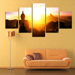 5 Panel Sunlight Background Buddha Landscape Canvas Painting Art Wall Modular Pictures