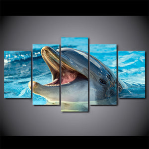 HD Printed 5 Piece Canvas Art Animal Poster Dolphin Playing Painting Wall Pictures