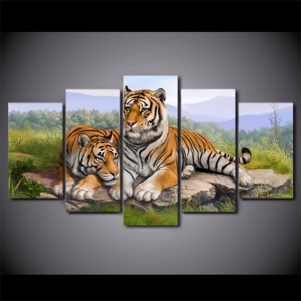 5 Piece Tiger Art Animal Poster Wall Pictures Living Room Wall Art Canvas Painting