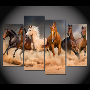 HD Printed 4 Piece Canvas Art Animal Horses Running Painting Wall Pictures Living Room