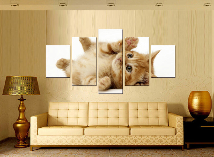 5 pieces Animals Pet Cat Canvas Art Print Poster Nursery Wall Picture Kids Baby Room Decor Painting
