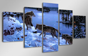 Wall Canvas Art Room Pictures 5 Pieces Animal Snow Wolves Winter Forest Lake Landscape Poster