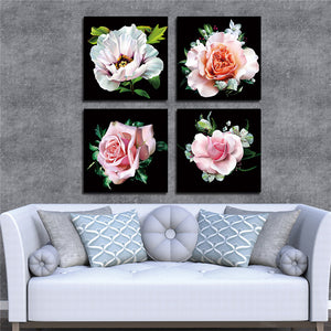 Art Oil Paint Modular Canvas Painting Rose Flower Pictures Canvas Prints Art Decorative Poster