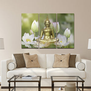 Lotus Flower Yoga Symbol Wall Art Canvas Painting Buddha Poster Print Pictures Painting Framed