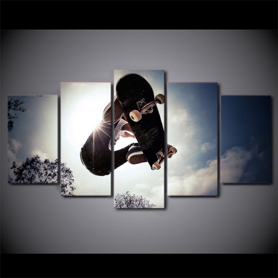 HD Printed 5 Piece Canvas Art Skateboard Painting X-sports Wall Pictures