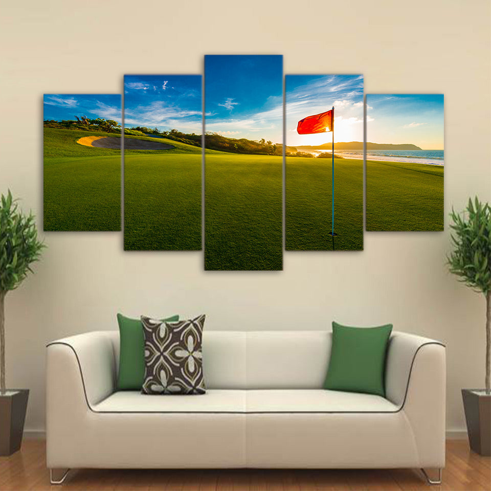 HD Printed 5 Piece Canvas Art Sunset Golf Course Painting Red Flag Wall Pictures