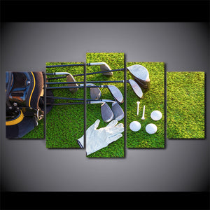 HD Printed 5 Piece Canvas Art Golf Course Painting Golf Club and Balls Wall Pictures