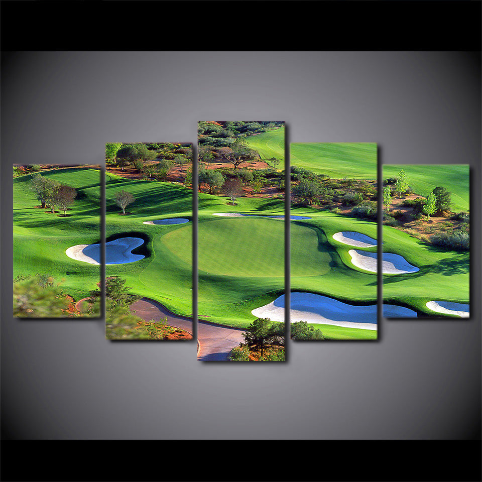 HD Printed 5 Piece Canvas Art Green Golf Course Painting Top View Wall Pictures