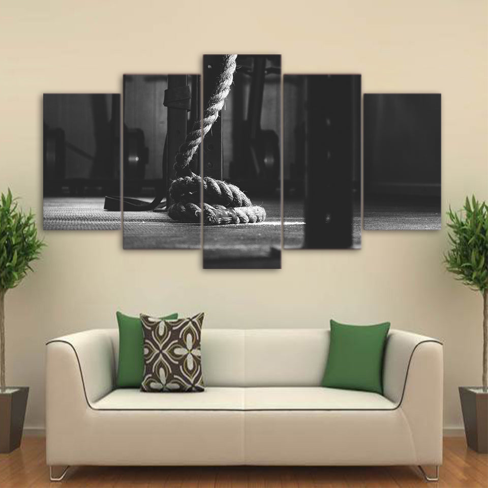 Printed 5 Piece Canvas Art Gym Painting Fitness Equipment Wall Pictures Gym Room Decoration