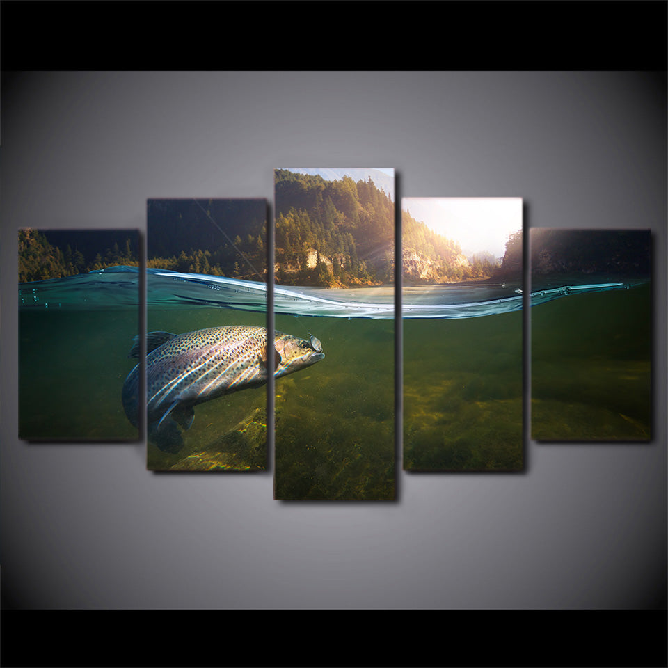 HD Printed 5 Piece Canvas Art Fishing In River Hooked Painting Wall Pictures