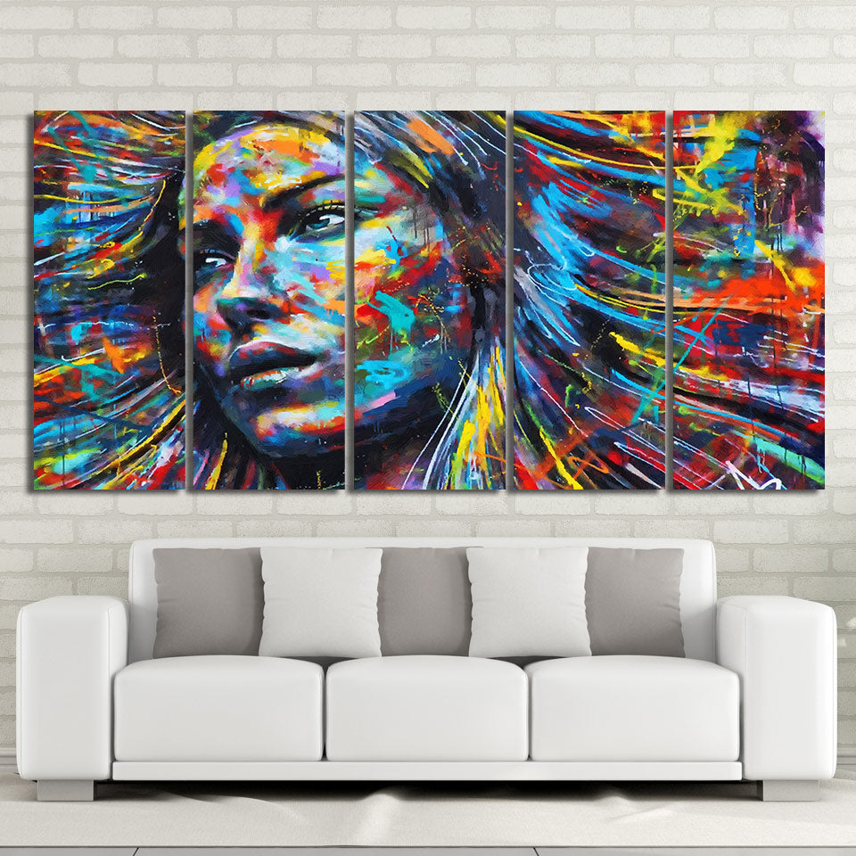 5 Piece Canvas Art Colorful Hair Figure Woman Face Painting