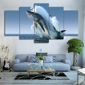 HD Printed 5 Piece Canvas Art Jumping White Shark Painting Wall Pictures