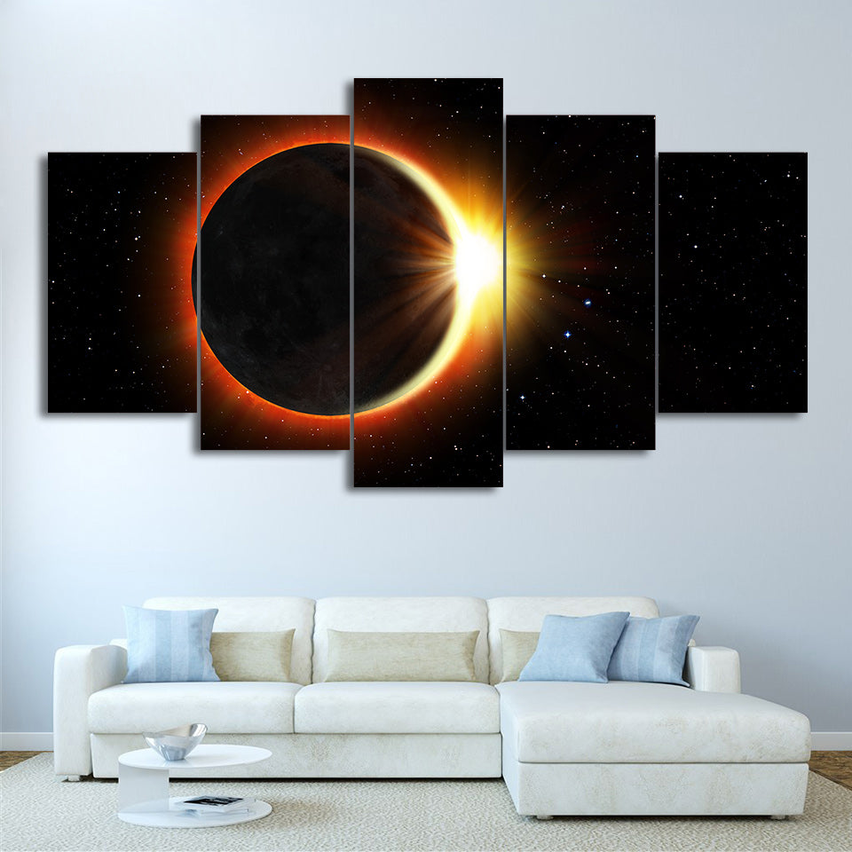 HD Printed 5 Piece Canvas Art Eclipse Painting Universe Wall Pictures