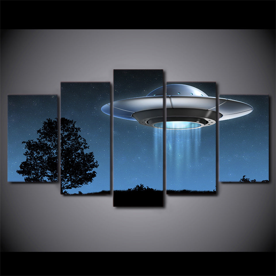 HD Printed 5 Piece Canvas Art Universe Flying UFO Painting Wall Pictures