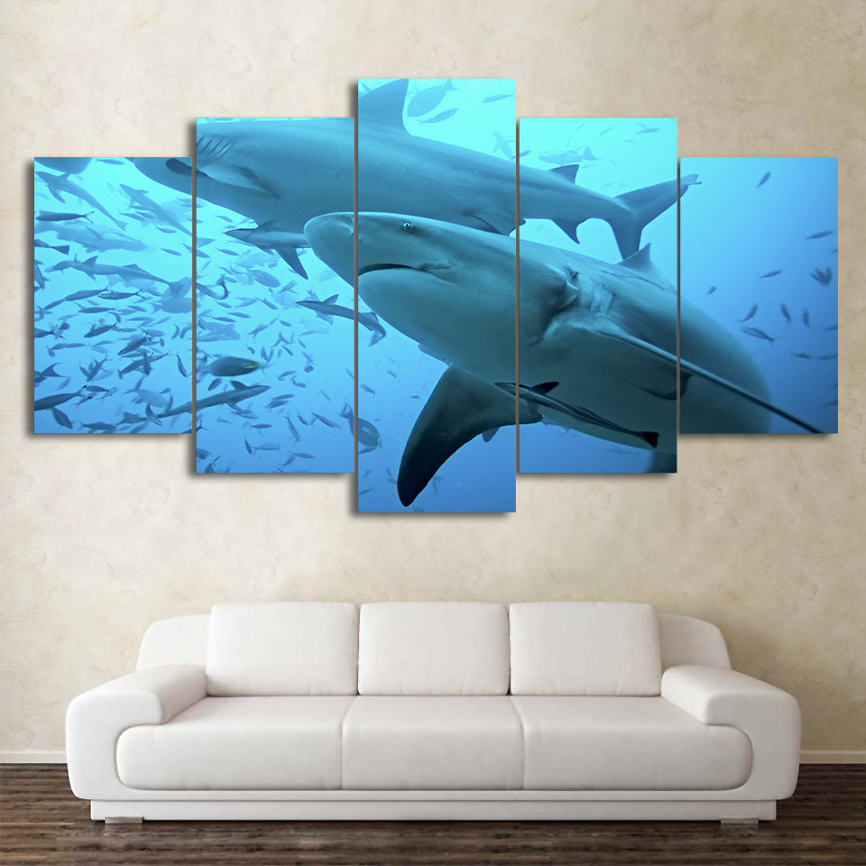 HD Printed 5 Piece Canvas Art Deep Blue Ocean Painting Big Shark Wall Pictures