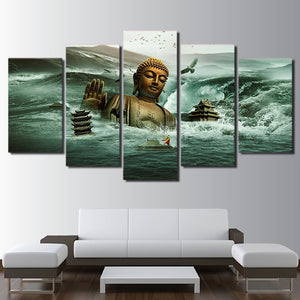 Printed 5 Panel Buddha Landscape Picture Modular Painting Modern Wall Art Home Decor Artwork Canvas Prints
