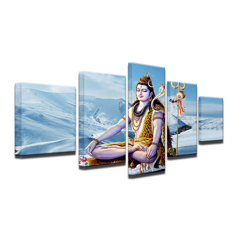 Abstract Canvas Painting Wall Art Poster Style Wall Picture 5 Panel The God Of India Shiva