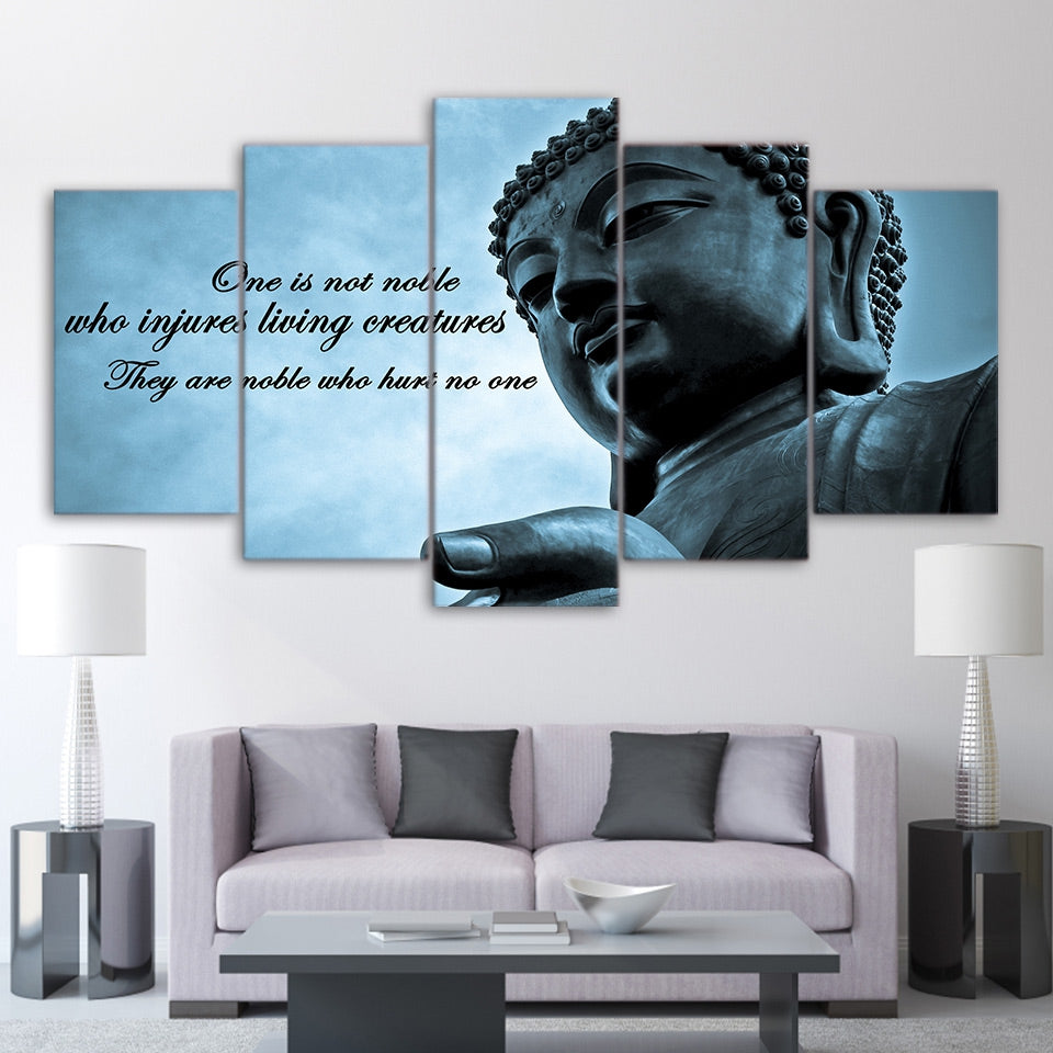 Wall Art Pictures HD Printed Canvas Poster Modern 5 Pieces Huge Buddha Statue Zen Art Painting