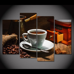 Canvas Painting 4 Piece Art Coffee Beans Cafes Spoon HD Printed Wall Art Home Decor Poster Picture Living Room