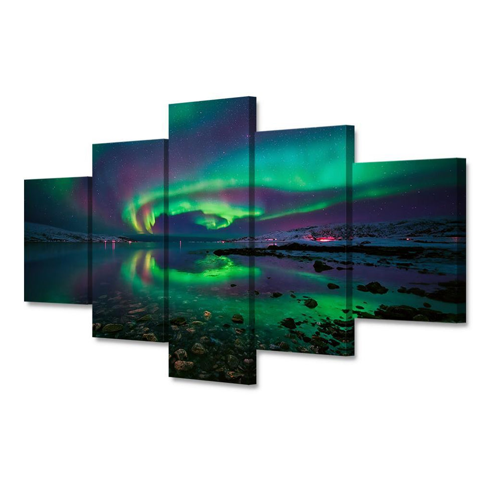 HD Print 5 Pieces Modular Canvas Art Painting Green Aurora Norwegian Gulf Night
