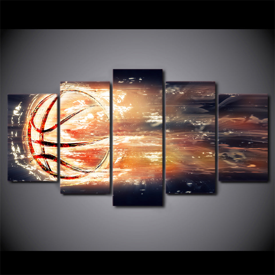 5 Piece HD Print Fire Basketball Posters And Prints Exciting Sport Canvas Art Home Decor